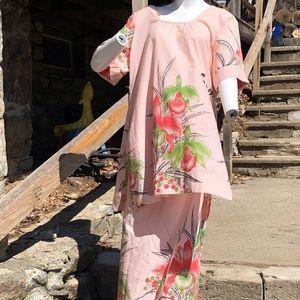 Vintage Samoan Kimono wrap skirt set floral Iris